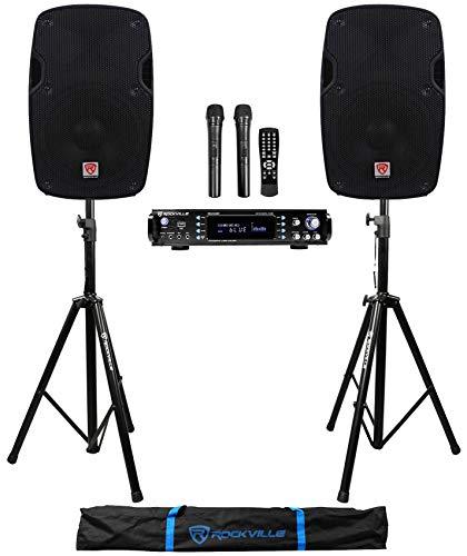 Rockville 1000w 2 Chan Karaoke Amplifier/Mixer(2) VHF Mics+2) 8