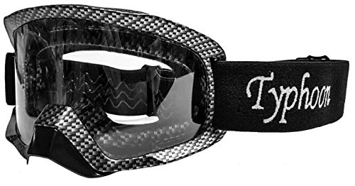 - Typhoon Motocross Goggles Dirt Bike ATV Goggles Motorcycle Off Road Unisex Adult and Youth - Carbon Fiber w/Clear Lens