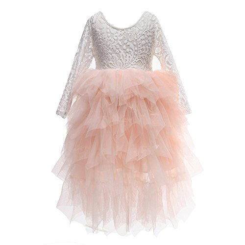 (Flower Girls Tutu Lace Cake Dress Princess Birthday Party Dresses (Pink, 7T))