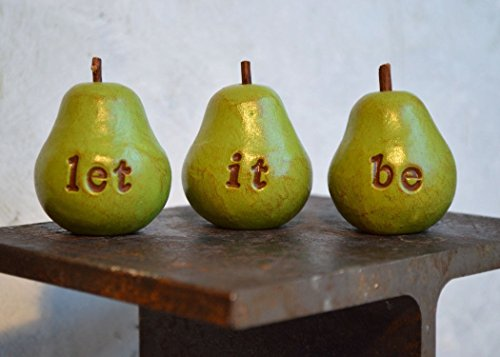 Gifts for Beatles fans…green let it be pears…Three handmade polymer clay pears