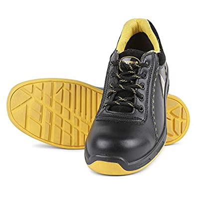 Liberty Warrior Envy Earth Popcorn Insocks Safety Shoes for Men Industrial Steel Toe Light Weight, Black/Yellow - First Time in India