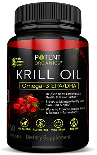 Premium Krill Oil 1000 mg - 60 Softgels - No Fishy Aftertaste - Promotes Joint, Cardiovascular & Brain Health - Nutritional Supplement - Reduces Inflammation & Cholesterol - Made in USA - GMO Free