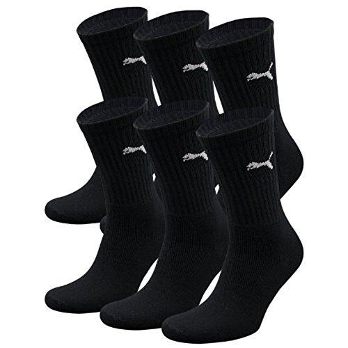 6 Paar PUMA Unisex Crew Socks Socken Sportsocken MIT FROTTEESOHLE (black, 35-38)
