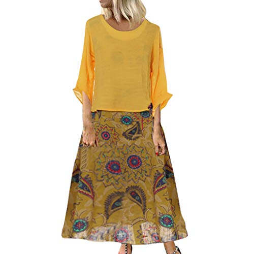 TUSANG Women Skirt Leisure O-Neck Loose 3/4 Sleeve Vintage Casual Floral Print Long Dress Slim Fit Comfy Dress(B-Yellow,US-14/CN-3XL)