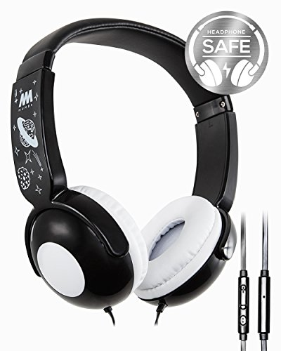 Kids Headphones, Mumba Volume Limited Over Ear Headphones, 85 Safe Listening Adjustable Headsets with Microphone for Kids Children (Black)
