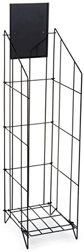 Displays2go 48.5-Inch Floor-Standing Wire Literature Rack with 8.5 x 11 Inches Sign Holder, Open Pocket Design, Black (LRWRC912)