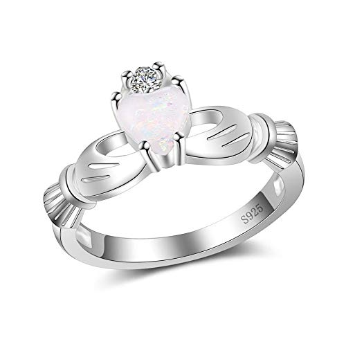 SISIBER Shiny Heart Shape Design Opal Rings for Lovely Women 925 Sterling Silver Cubic Zirconia Fashion Circle Style Best Gifts,10