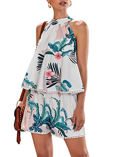 - Dokotoo Womens Fashion Ladies Holiday Bohemian Ruffle Casual Summer Halter Neck Sleeveless Floral Print Polka Dot Loose Plain Short Rompers and Jumpsuits Blue Large