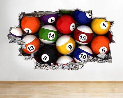 Snooker - Adhesivo Decorativo para Pared con diseño de Bolas de ...