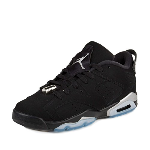 "Nike Boys Air Jordan 6 Retro Low BG ""Chrome"" Black/Metallic Silver-White Leather - 41xhTK4aOiL - Nike Boys Air Jordan 6 Retro Low BG ""Chrome"" Black/Metallic Silver-White Leather"