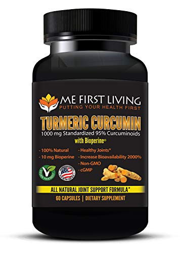 Turmeric Curcumin 1000mg 95% Curcuminoid, Bioperine (Black Pepper Extract) 10mg, 19x More Potent Than Others, Increased Absorption, Non-GMO, Organic Turmeric, Vegan, Gluten Free, 60 Capsules