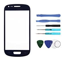 Sanheshun Front Outer Screen Glass Lens Replacement Compatible with Samsung Galaxy S3 mini i8190 + 8 Tools (Navy Blue)