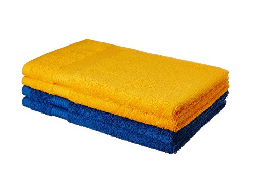 Solimo 100% Cotton 4 Piece Hand Towel Set, 500 GSM (Iris Blue and Sunshine Yellow)