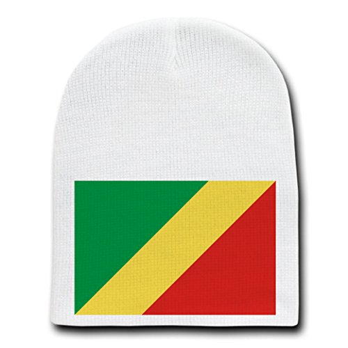 Republic of the Congo - World Country National Flag - White Beanie Skull Cap Hat (Republic Congo Of Religion)