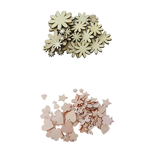 - MagiDeal Pack of 150 Assorted Natural Wood MDF Cutouts Daisy Flower Heart Butterfly Star Shapes Bunting Wooden Embellishments for DIY Decoration Craft