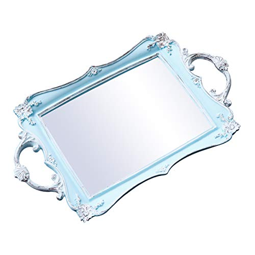 roomfitters Decorative Mirrored Vanity Tray, Bathroom Makeup Jewelry Organizer, 15.4 x 9.3 inch -Antique French Vintage Look (Vintage Mirrored Dresser)