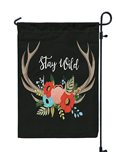 Jacrane Welcome Small Garden Flag 12X18 Inches Floral Antlers in The Bohemian Style Vintage Deer Horns Decorated Flowers Leaves Various Plants Double-Sided Seasonal House Yard Flags -