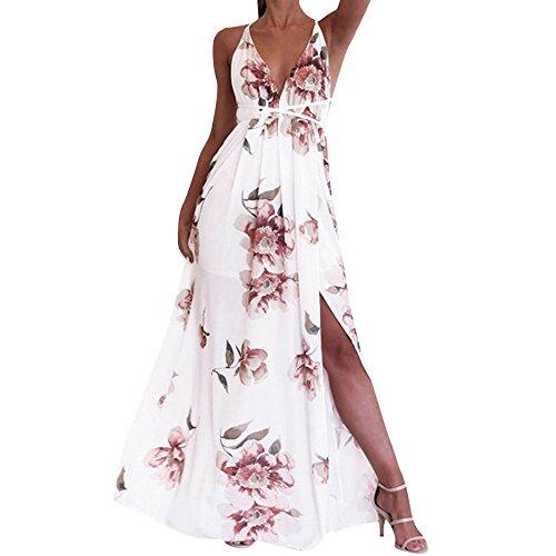 - Sherostore ♡ Boho Sundress, Womens Summer Halter Floral Printed V Neck Sleeveless Chiffon Split Long Beach Maxi Dress White