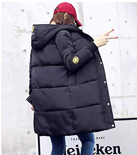 Cappuccio Lunghe Lampo Vestiti Caldo Chiusura Unita Cappotto Bottoni A Moda Tasche Con Laterali Donna Invernale Giovane Maniche Parka Da Tinta Schwarz Giacca xwBBWqnc6Z