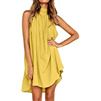 SRYSHKR Womens Holiday Irregular Dress Ladies Summer Beach Sleeveless Party Dress