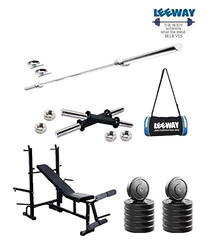 c6ba0d6b6c77 Leeway Premium Quality  Home Gym Set with 14   Dumbbell Rod