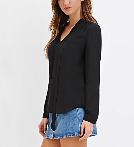 Ufficio Blusa Camicia Elegante Donna Nero Moda Bowknot Scollo Lunga Puro Casual Shirt Ragazza V Colore Primaverili Manica Abbigliamento Top Chiffon Chic aaqw4rx8