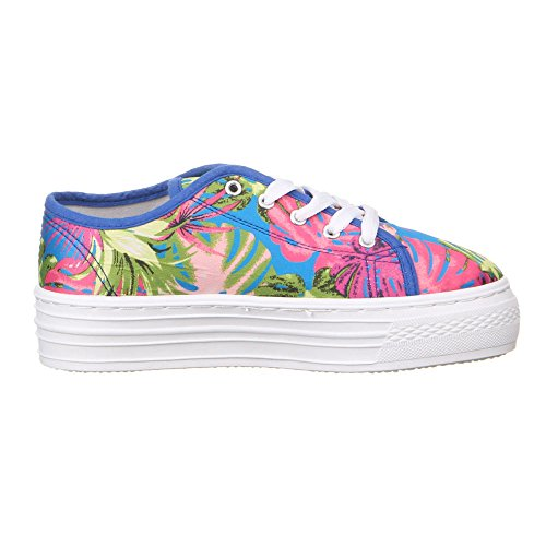 Ital-Design - Zapatillas de tela para mujer Varios Colores - Blau Multi