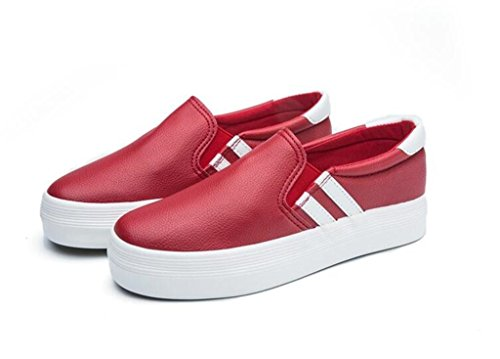 Zapatos Blanco Bottom Lady Classic Escuela Negro RED Thick Movimiento Shoes Cómodo PU 35 White XIE Compras 37 Casual Alumnos YnF4fq4