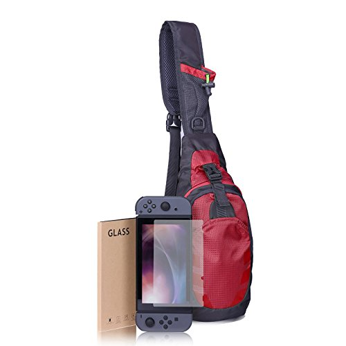 HDE Backpack Tempered Glass Screen Protector Bundle For Nintendo Switch Premium Crossbody Travel Bag For Console Games and Accessories (Red)