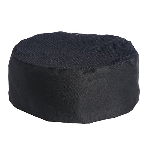 SUPVOX Breathable Mesh Top Skull Cap Professional Catering Chefs Hat with Adjustable Strap - One Size (Black)