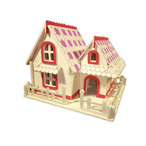 3D Jigsaw Woodcraft DIY Assembly Color European Style Villa House Handcraft Educational Products Wooden Art Jigsaw Puzzle Toys For Children Diy Handmade Toy Or Hobby Decorative (Style Villa)