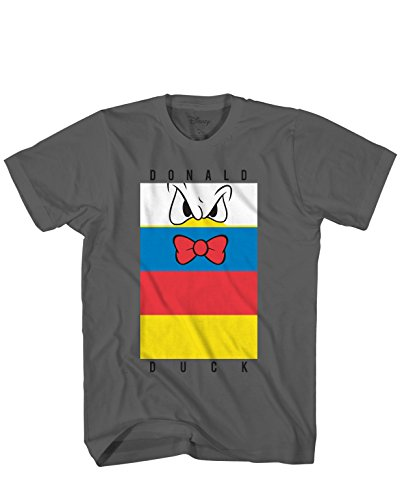 Disney Donald Duck Blocks Graphic Tee Classic Vintage Disneyland World Mens Adult T-Shirt Apparel (Large)