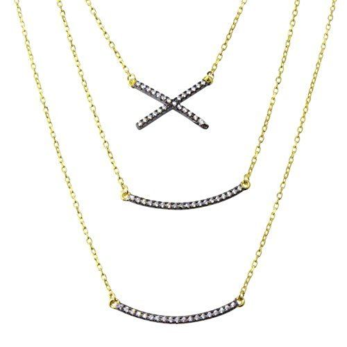 Princess Kylie Clear Cubic Zirconia Tri Strand Curved Bar and X Necklace Gold-Tone Plated Sterling Silver