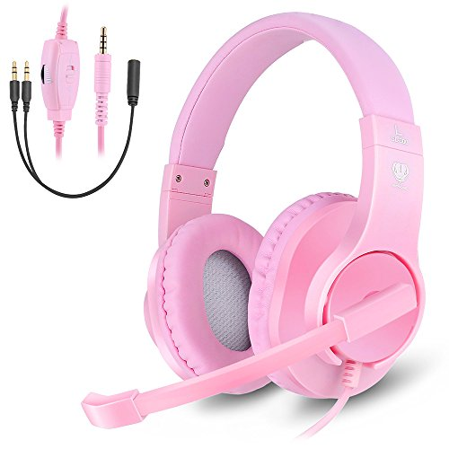 Makibes Wired Over Ear Headphones for Women & Girls, Gaming Headset with Noise Cancelling Microphone for PC, PS4, Xbox One, Nintendo Switch Pink