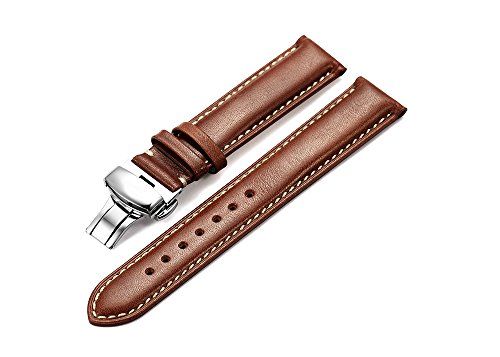 IStrap 22mm Genuine Calfskin Leather Watch Band Strap Steel Deployant Clasp Super Soft-Dark Brown