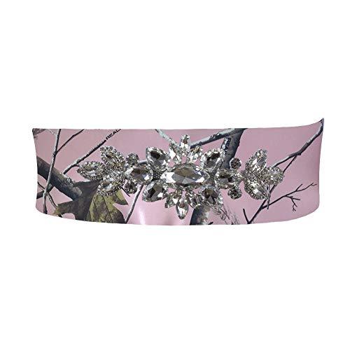 iLovewedding White Camo Wedding Dress Sash Crystal Rhinestone Bridal Sashes Belt DIY (Pink-3)