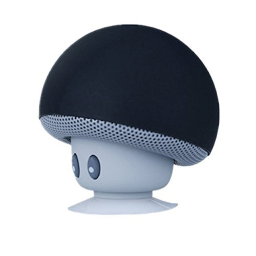 J.Thor Bluetooth Wireless Speaker Cartoon Small Mushroom Head, Bluetooth Speaker, Small Suction Cup, Creative Mini Mobile Phone Flat Rack,Compatible with iPhone / iPad / Samsung and More (Black)