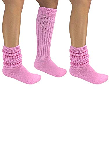 Pastel Pink All Cotton 3 Pack Extra Heavy Slouch Socks]()