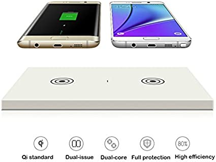 Amazon.com: Qi Dual transmisor cargador inalámbrico Qi, al ...