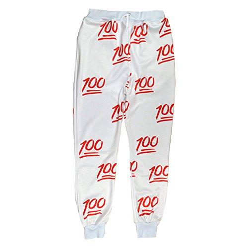 Unisex Hipster 100 emoji joggers pants white Sweatpant Sportswear (L)