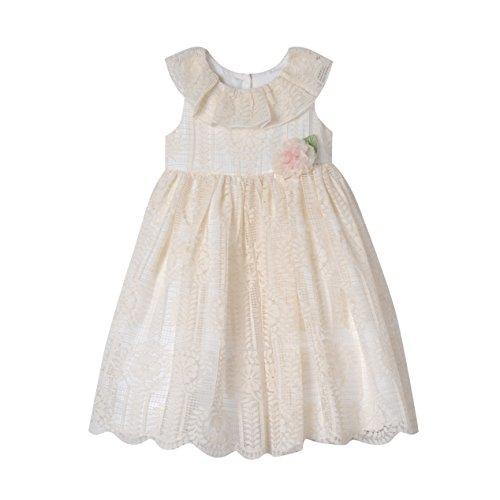 Laura Ashley London Baby-Girls Ruffle Neck Lace Dress, Ivory, 12M