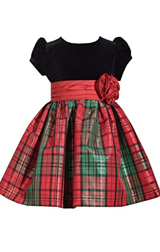 - Bonnie Jean Short Sleeve Christmas Dress with Black Velvet and Red Tartan Plaid 2T