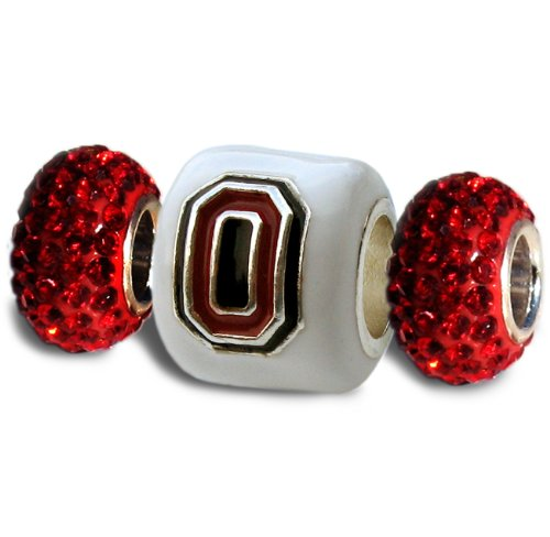 Ohio State Charms | Ohio State White Block O with Red Crystal Charms | Officially Licensed Ohio State Jewelry | OSU Gifts | Ohio State Jewelry | Ohio State Charms | Stainless Steel (Ohio State Buckeyes Crystal)