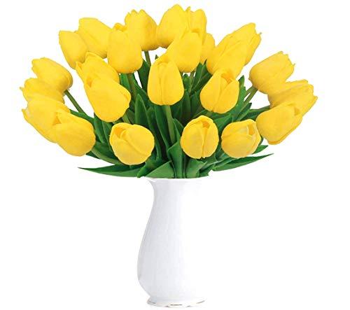 Magic House 조화 튤립 시들지 않는 꽃 아트 플라워 12 개 세트 꽃꽂이 꽃다발 어레인지 쉽게 손 부케 인테리어 장식 진짜 똑같이 어머니의 날 선물 소중한 사람에게 감사의 마음을 전하는 옐로우 / 오렌지 / 핑크 / 화이트