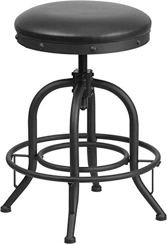 Great American Bar Stools Oak Bar Stools (Industrial Style 24'' Counter Height Stool with Swivel Lift Black Leather Seat)