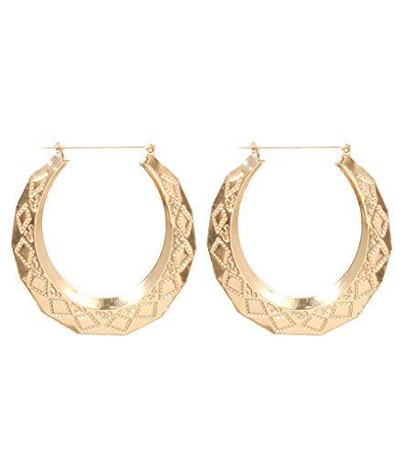 Gold Tone Big Classic Hoop Statement Earrings DoorKnocker Old School Diamond Shape Pattern Hoops~3.5