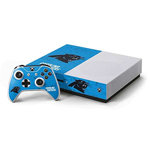 - Skinit NFL Carolina Panthers Xbox One S Console and Controller Bundle Skin - Carolina Panthers Distressed Alternate Design - Ultra Thin, Lightweight Vinyl Decal Protection