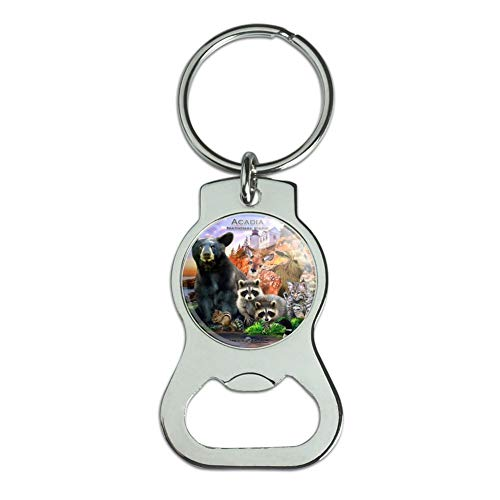 Graphics and More Acadia National Park Maine ME Animals Bear Racoon Deer Moose Bottle Cap Opener Keychain Key - Park Acadia Me National