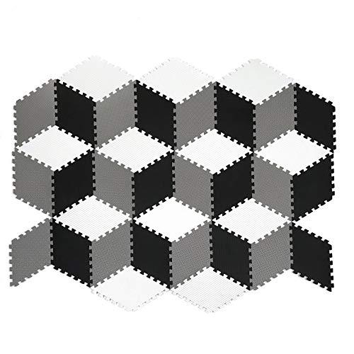 Tadpoles 36 Piece Rhombus Foam Play Mat Set, Black/White/Grey