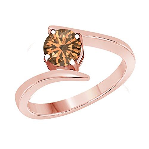 DreamJewels 1 Carat 14k Solid Rose Gold Plated Round Brilliant Cut Smoky Quartz Solitaire CZ (Cut Smoky Quartz Solitaire Ring)